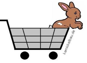 Zeichnung Kaninchen im Einkaufswagen
